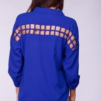 Blue Long Sleeve Chiffon Top with Cage Cutout Back