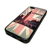 For Apple iPhone 5C 5 C Case Cover Skin Hipster London England City Travel Quotes Teen DESIGN BLACK RUBBER SILICONE Teen Gift Vintage Hipster Fashion Design Art Print Cell Phone Accessories