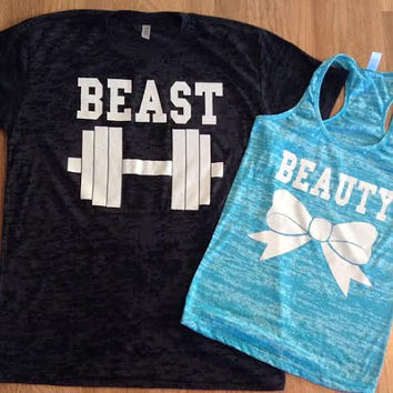 Free/Fast Shipping for US Beauty And The Beast Burn Out Tee and Tank(Charcoal Gray and Turquoise white decal)
