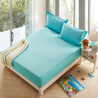 SunnyRain 3-Pieces Solid Color Bed Sheet Set Fitted Bed Sheet Queen Size Metress