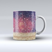 The Red and Blue Unfocused Orbs with Gold ink-Fuzed Ceramic Coffee Mug