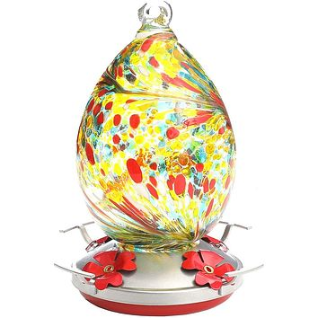 Yellow and Red Hand Blown Glass Hummingbird Feeder- Holds 30 oz of Nectar