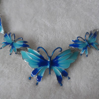 Blue and silvertone Butterfly  statement  necklace