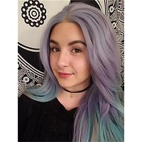 Lavender Green Mixed Long Wave Synthetic Lace Front Wig