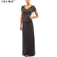 Long Pattern Tshirt Dresses Women Short Sleeve Hooded Tunic Cotton Maxi Dress Woman 2016 Spring Floor-Length Dress QWC0098-4