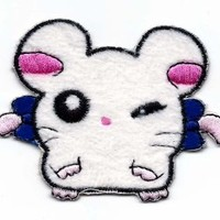 BIJOU in Hamtaro Hamster Embroidered Iron On / Sew On Patch - jewel France blue bow
