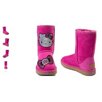 Women -  Crystal Kitty UGG® Classic Short II Boot - Fuchsia