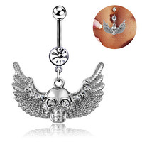Wings Skull Rhinestone Body Piercing Belly Ring Button Navel Barbell Jewelry