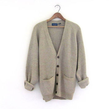 Vintage oatmeal Button Up Preppy Oversized Sweater Cardigan with pockets // L