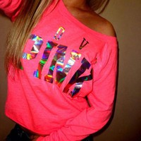 victoria s secret pink women s fashion letter print round neck long sleeves pullover tops t shirt