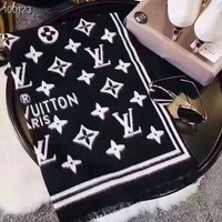 Louis vuitton fashion ladies casual jacquard mink fringed shawl scarf