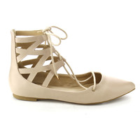Women's Faux Leather Front Lace Up Cut Out Ankle High Top Gladiator Ballet Flats