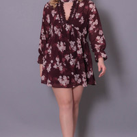 Plus Size Mini Chiffon Floral Dress - Burgundy