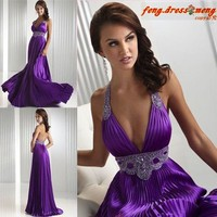 2014 New Purple Halter Party Prom Dress Sheath Evening Formal Gown Backless