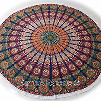 """Amitus Exports ® 1 X Roundies Beach Throw Yoga Mats Roundies With White Fringes 70"""" Approx. Inches Blue Multi Color Round Large Cotton Fabric Multi-Purpose Handmade Tapestry Indian Mandala Throws"""