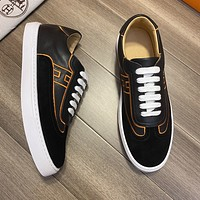HERMÈS 2021Men Fashion Boots fashionable Casual leather Breathable Sneakers Running Shoes0602cx
