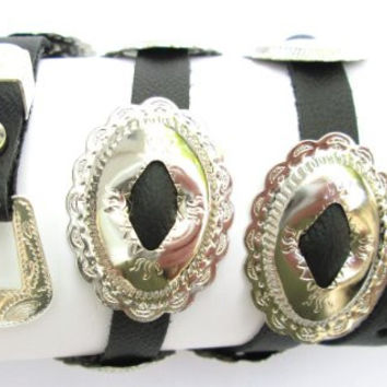 Western Hat Band Black Leather with 10 Oval Scalloped Conchos with 3-pc buckle set