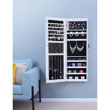 Wall/Door Mounted Jewelry Cabinet with Full Length Mirror,