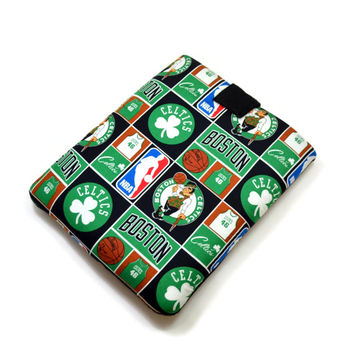 Hand Crafted Tablet Case From Licensed NBA Boston Celtics  Basketball Fabric / Case for: iPad, iPad Air,  Kindle Fire HD, Samusng Galaxy Tab