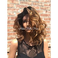 Ombre Carmel Bob Dark Blond Curly Hair with Dark Roots