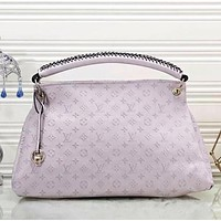Supergirls22 LV Louis Vuitton Hot Sale Women Fashion Leather Tote Handbag Shoulder Bag Pink&White