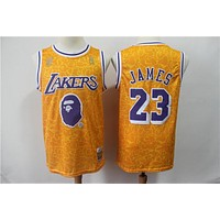 BAPE x Mitchell & Ness #23 LeBron James Los Angeles Lakers Gold Jersseys - Best Deal Online