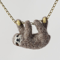 Sloth necklace - Needle Felted Sloth - sloth stuffed animal necklace - sloth plush - Hanging Sloth - Sloth jewelry - Baby sloth