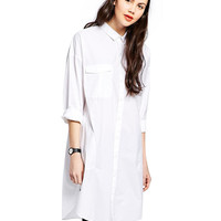White Pointed Flat Collar Long Sleeve Long Blouse