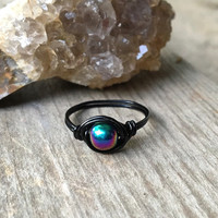 Ring, wire ring, stone ring, rainbow stone ring, Hematite stone, Hematite ring, wire wrapped ring, custom wire ring, minimalist ring, boho