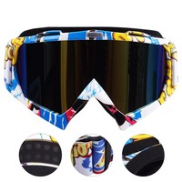 Motocross Glasses UV400 PC Lens Motorcycle Goggles Motorbike Helmet Bendable TPU Frame Dirt Bike Glasses Ski Scooter Eyewears
