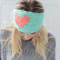 LOVE Knitted Heart Headband Mint and Coral Ear Warmer by Three Bird Nest