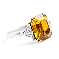 Vintage Art Deco Sterling Silver Ring -  Size 6.5 Amber Brown Glass Stone Costume Jewelry / 1920s 1930s Floral