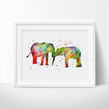 Elephant Family 2 Watercolor Art Print