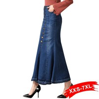 Plus Size Flare Denim Long Skirts Button Up 4Xl 6Xl 7Xl Women Oversized Sexy Lady'S Bodycon Ankle Length Long Jeans Skirts