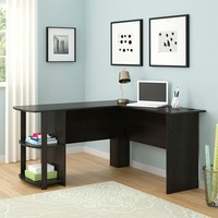 Espresso Corner Computer Desk With Bookshelves Fits Well In Office