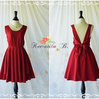 A Party V Charming Dress Prom Party Dresses Blood Red Cocktail Dress Backless Dress Red Wedding Bridesmaid Dresses Burgundy Dress XS-XL