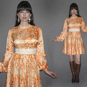 Vintage 60s Mod Floral Print Dress / Orange + White Flower Power / Eyelet Trim, Bishop Sleeve / Groovy, Psychedelic / Love Witch, Lana / Med