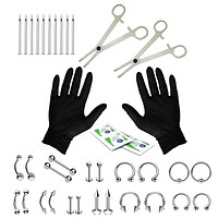 36PC Piercing Kit Stainless Steel 14G 16G Belly Ring Tongue Tragus Eyebrow Nipple Lip Nose