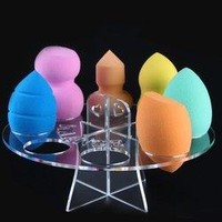 Stylish Round Powder Puffs Holder Makeup Blender Display Stand - Transparent