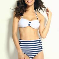 White Halter Blue Striped High-Waisted Pin-Up Bikini