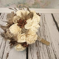 Winter wedding rustic wonderland MEDIUM bridal bridesmaid BOUQUET Cream Flowers, pine cones, natural guinea hen feathers, sola roses, lotos