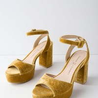 Theresa Golden Yellow Velvet Platform Heels