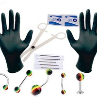 16G and 14G Professional Piercing Kit, Rasta Flag Eyebrow, Nipple, Lip, Nose, Belly, Tongue 15 Pieces