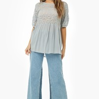 Sheer Floral Lace Tunic