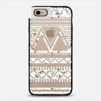 White Marble Tribal Transparent iPhone 6 case by Organic Saturation | Casetify