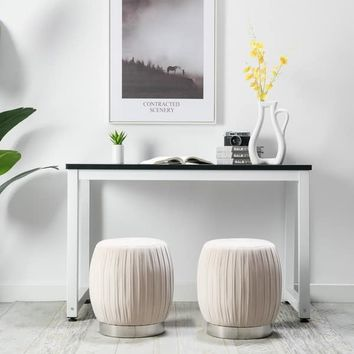 Art-Leon Pleated Velvet Fabric Round Ottoman Stool with Silver Base | Overstock.com Shopping - The Best Deals on Ottomans