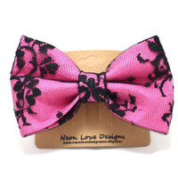 Pink and Black Lace Hair Bow Barrette