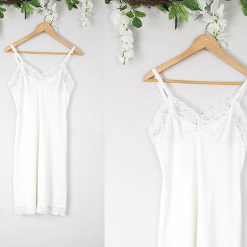 Vintage White Sheer Lace Slip Dress