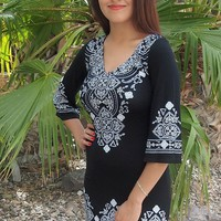 Be The One White And Black Printed Long Sleeve Shift Dress
