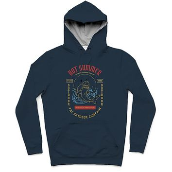Hot Summer Trendy All-Over Print Solid Midnight Blue Hoodie